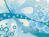 Blue floral pattern trend background vector material