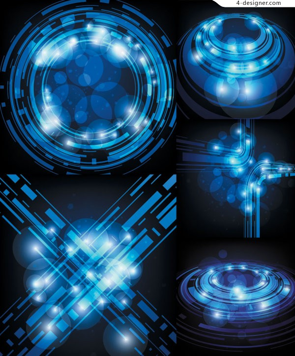 Blue technology theme light effects background vector material