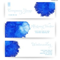 Blue watercolor banner vector material