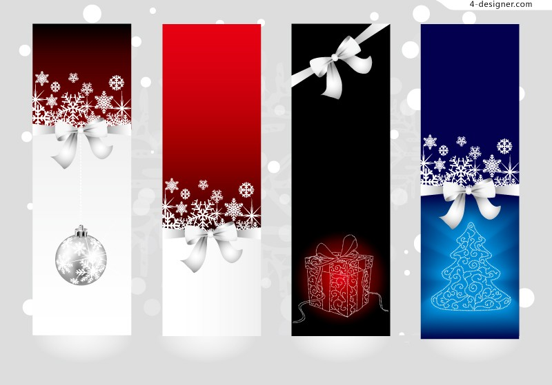 Bow decorative vertical banner vector material