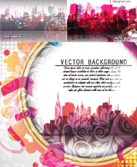 Brilliant urban pattern background vector material
