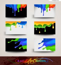 Color paint banner design vector material