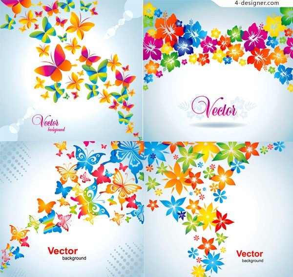 Colorful butterfly flowers background vector material