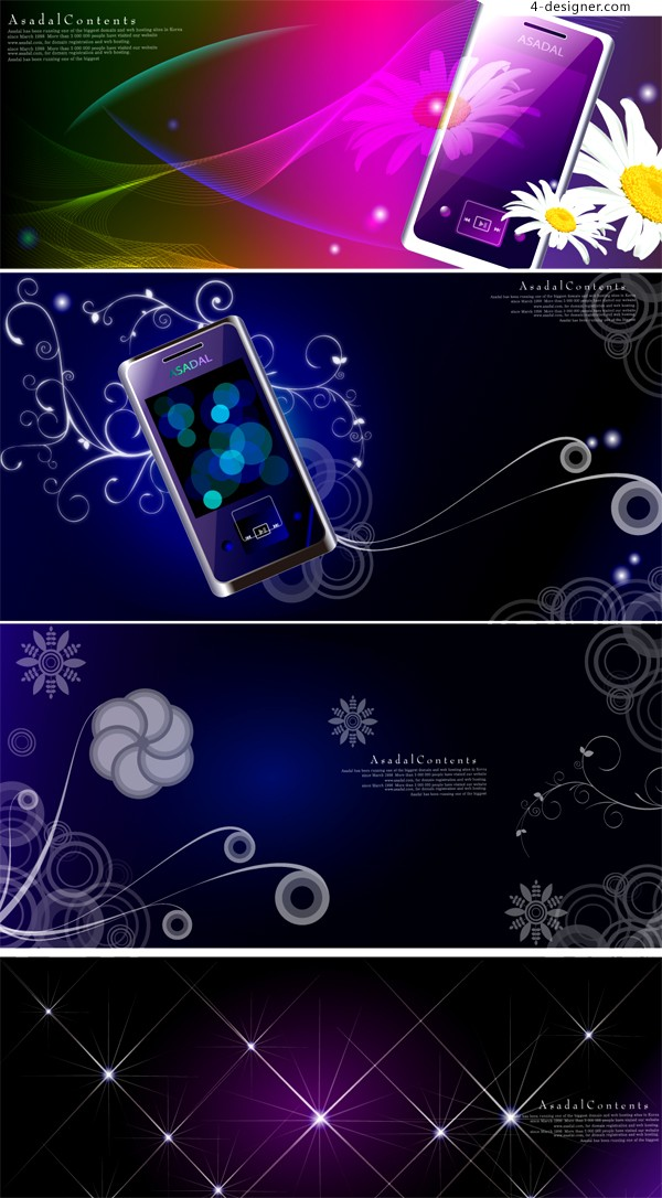 Colorful dreamlike phone background vector material
