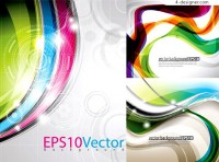 Colorful dynamic circular background vector material