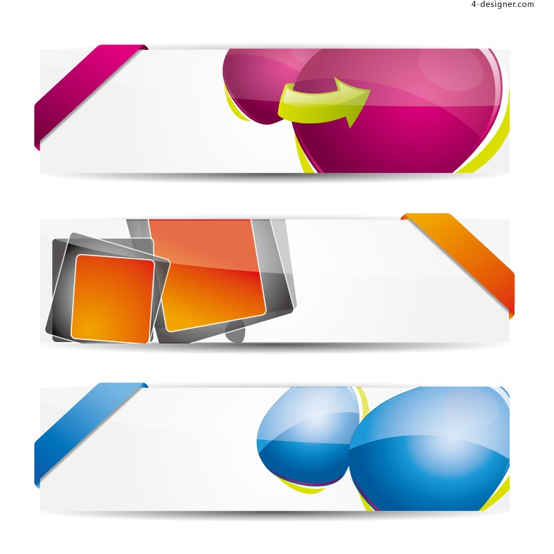Colorful fashion banner design vector material