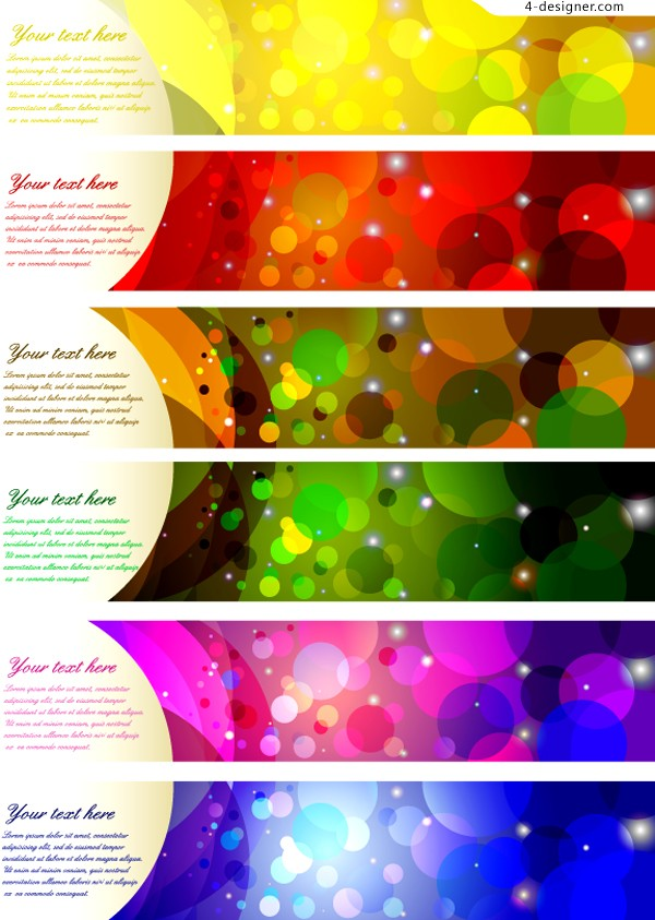 Colorful glare banner vector material