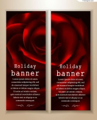 Creative roses banner design vector material
