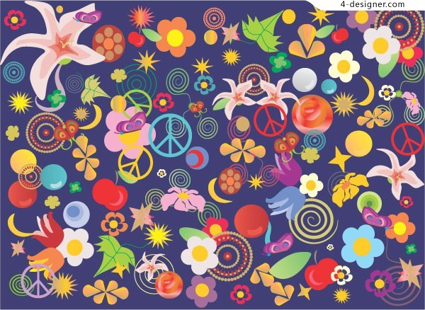 Cute abstract flowers background vector material