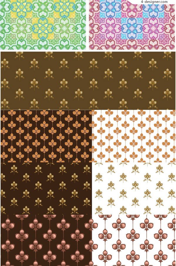 Cute flower pattern background vector material