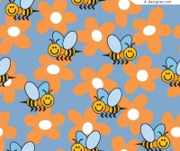 Cute little bee flower background vector material