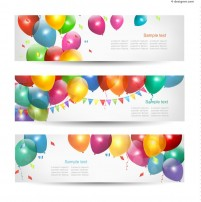 Decorative balloon and fireworks banner vector material
