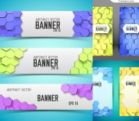 Dimensional honeycomb decorative banner vector material