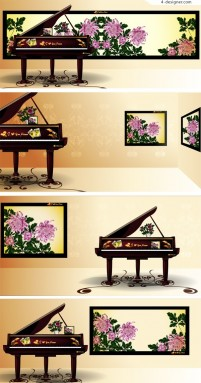 Elegant piano and Chinese painting background vector material
