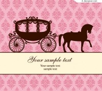 European carriage silhouette and classical decorative patterns background vector material