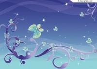 Exquisite butterfly background vector material