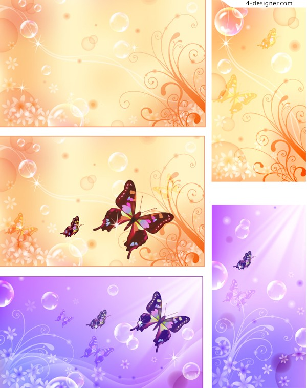 Fantasy floral background vector material