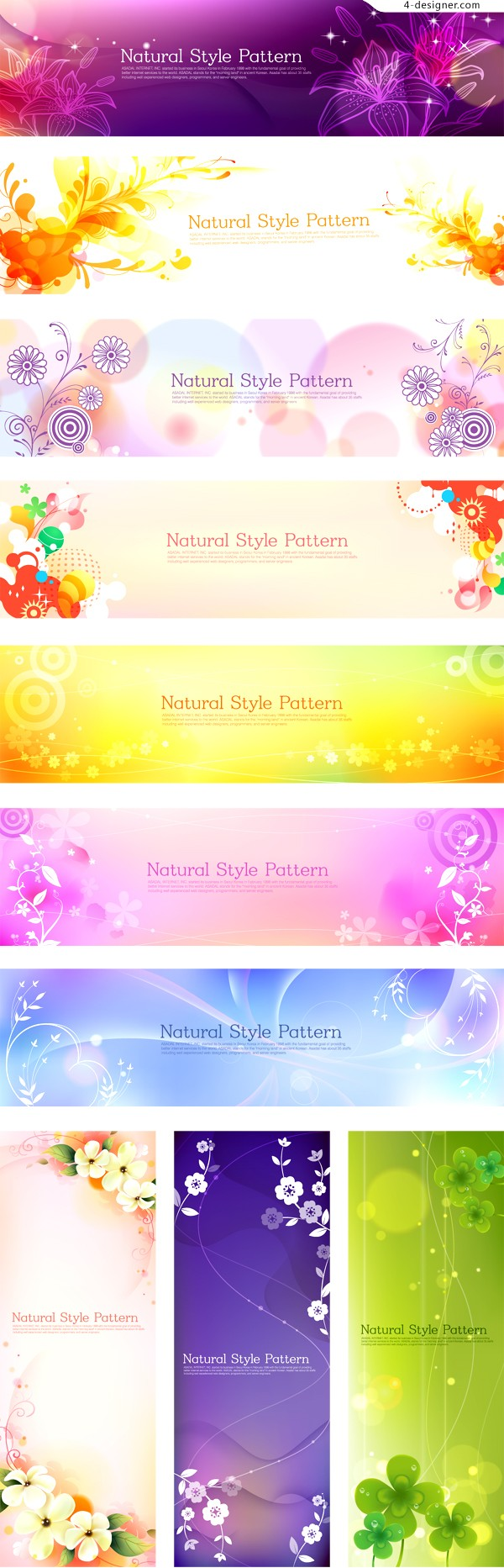 Fantasy flowers banner vector material