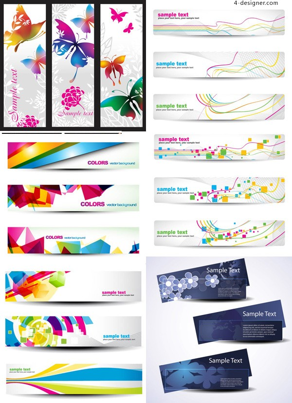Fashion colorful flower pattern banner background vector material