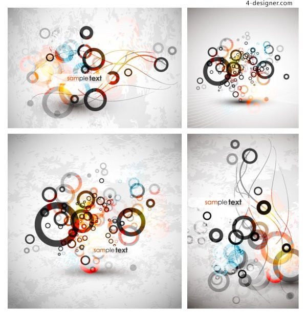 Fashion gradient circle background vector material