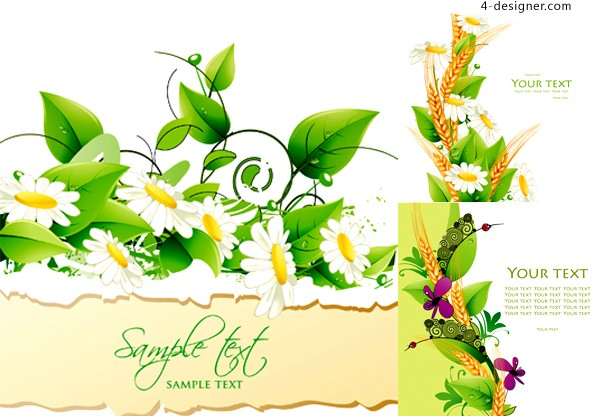 Flowers green leaves background vector material