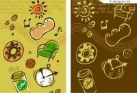 Food theme cute background vector material
