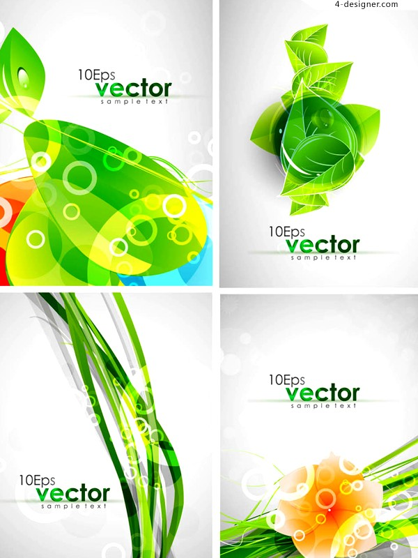 Fresh dynamic green leaves background vector material