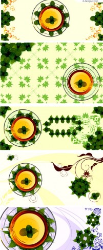 Fresh green leaves and transparent cup background vector material
