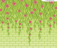 Fresh green vines background vector material