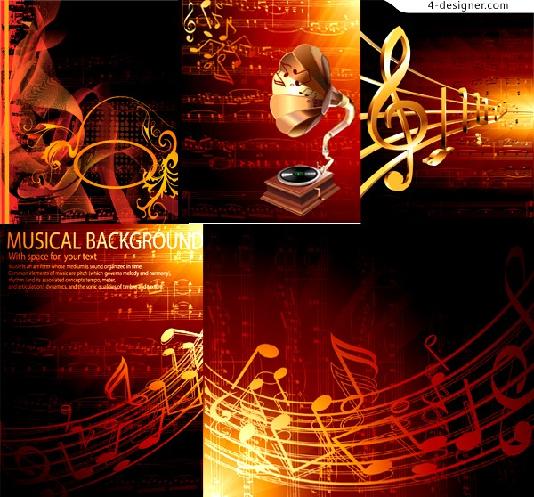 Golden Years music theme background vector material