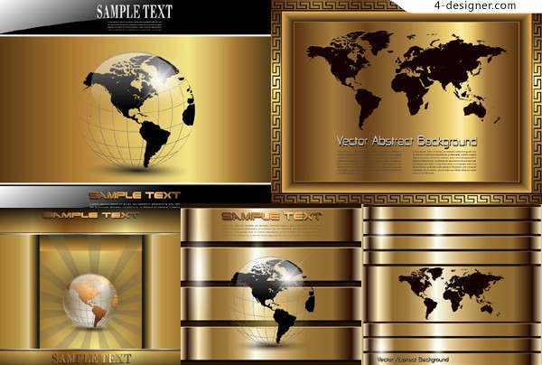 Golden gorgeous technology background vector material
