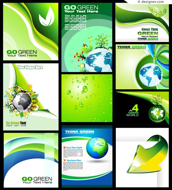 Green theme background vector material