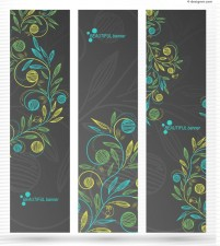 Hand painted flowers vertical banner background vector material