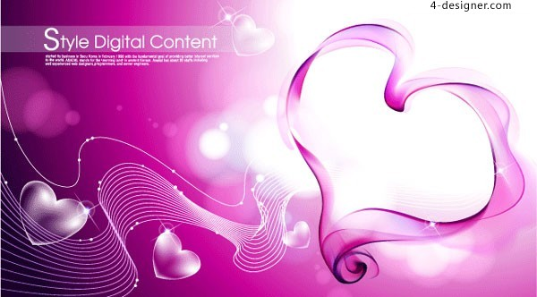 Heart shaped fantasy background vector material