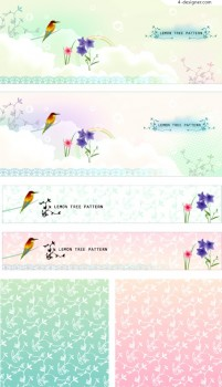 Korean fantasy flowers and birds background vector material