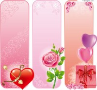 Love roses gifts background vector material