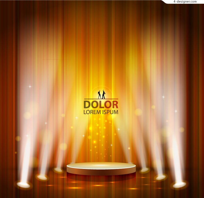 Orange stage lights background vector material