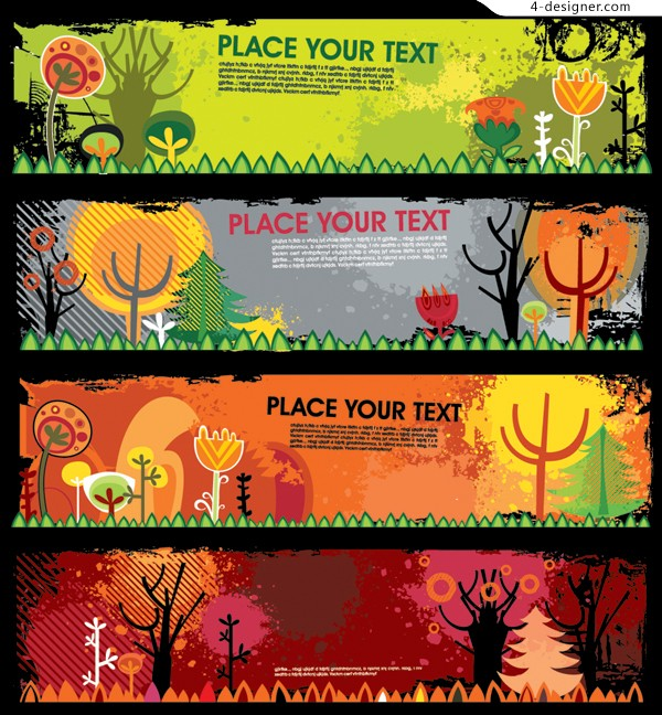 Several vector materials of autumn theme banner background
