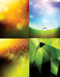 Several vector materials of colorful fantasy background
