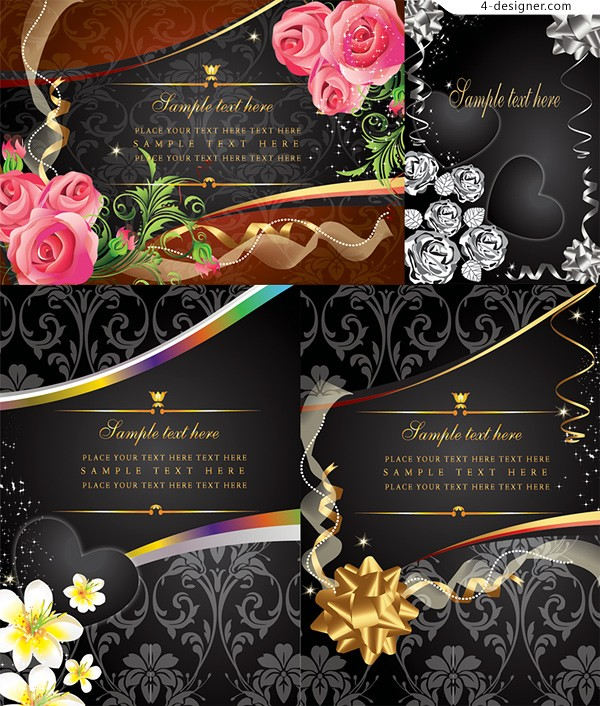 Several vector materials of exquisite flowers card background