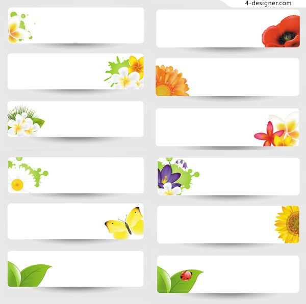 Simple flowers banner vector material