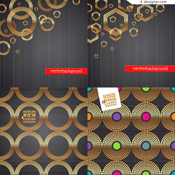 Textured golden circle background vector material
