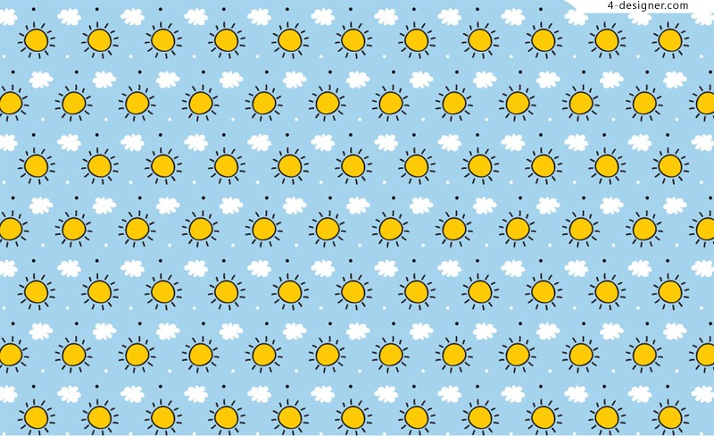 The sun and clouds background vector material