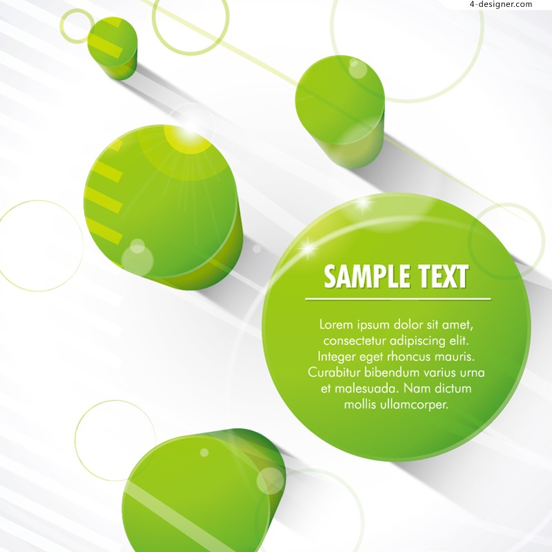 Vector material of 3D green cylindrical background