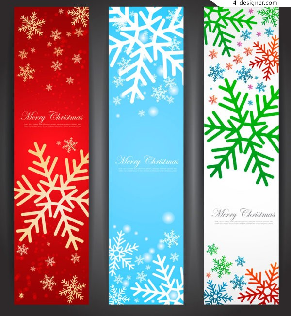Vector material of Christmas snowflake vertical banner