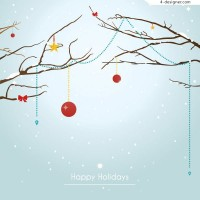 Vector material of Winter Christmas greeting card background