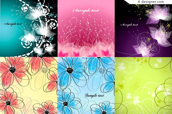 Vector material of abstract fantasy flowers background