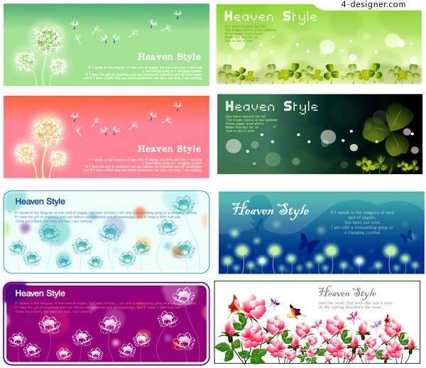 Vector material of banner background with beautiful flowers and plants