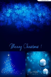 Vector material of beautiful blue Christmas background