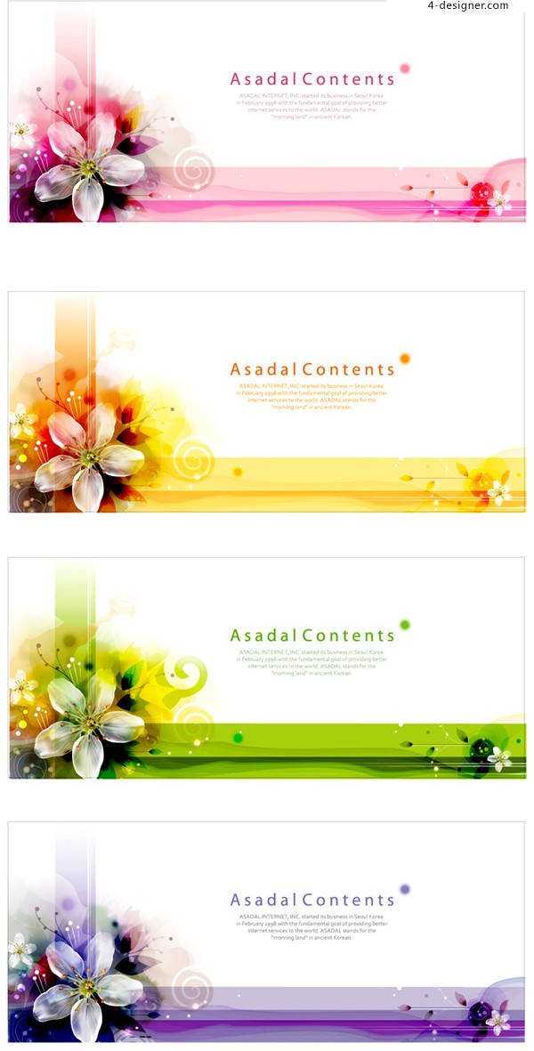 Vector material of beautiful four color lily banner